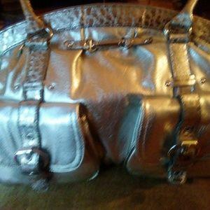 Silver /bronze and gold satchel handbag